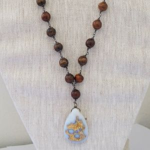 Jewelry - 18k Gold Pendant, Wood Beaded Wrap Necklace